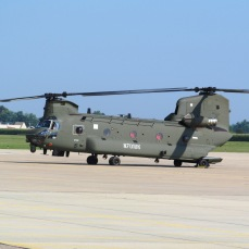 Army Chinook at Alton-Bethalto , Illinois Regional Airport. Photo by Joe Gurney.
