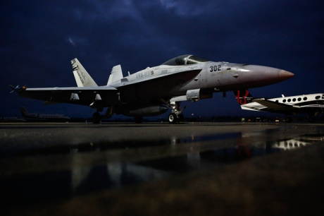 Two F-18 fighter jets had to make an emergency landing on their flight from Key West to Virginia on Saturday, February 28, 2015 and the closest airport for the jets was Naples Airport. The reason for the emergency landing is still unclear. Scott McIntyre/Staff